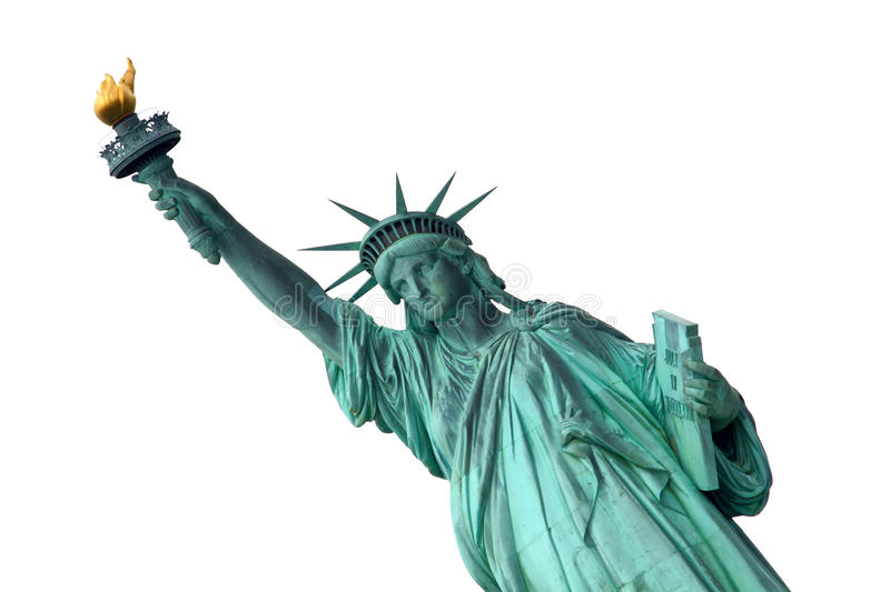 Liberty Statue. Isolated on white background royalty free stock photo