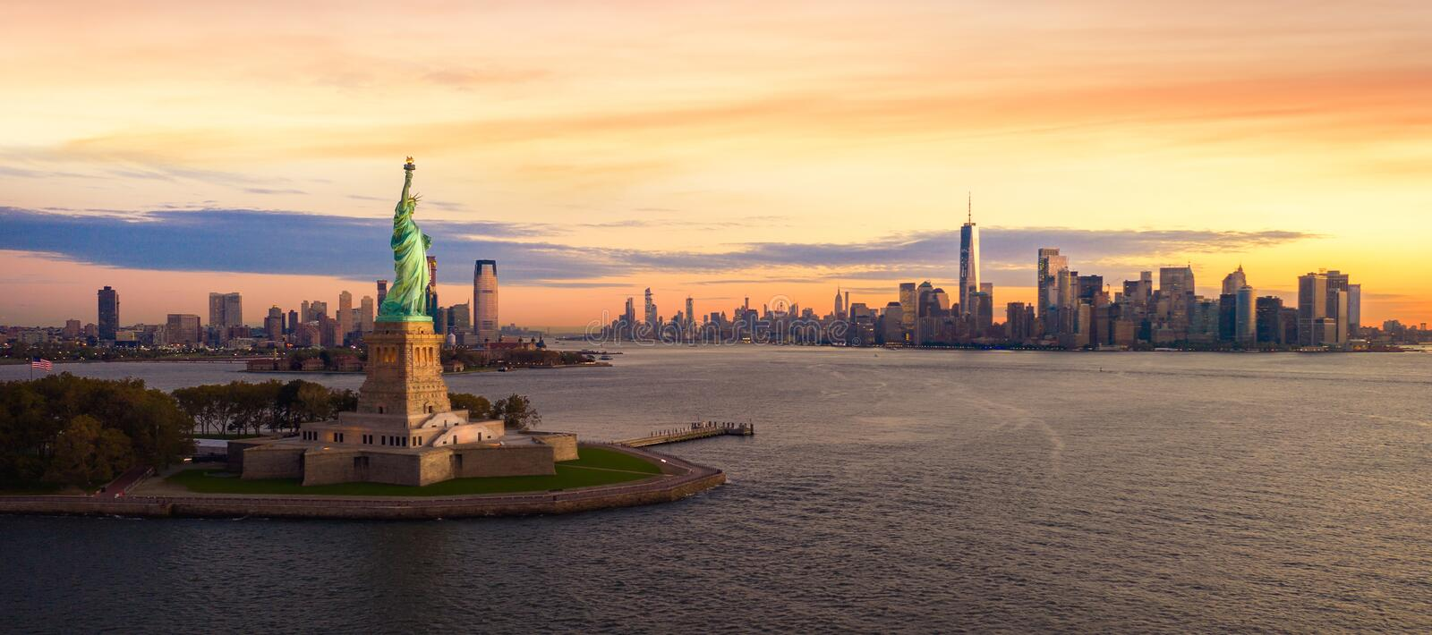 Liberty statue in New York city royalty free stock photography