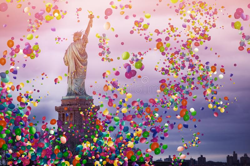 Liberty statue in New York USA with air balloons stock images
