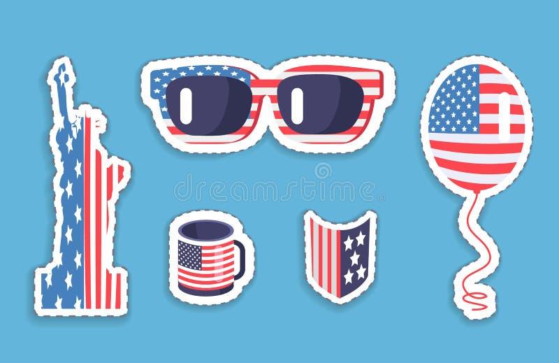 Liberty Statue Sunglasses Balloon en simbolismo de los E.E.U.U. ilustración del vector