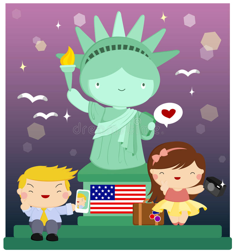 Liberty statue. Vector with people in it stock illustration