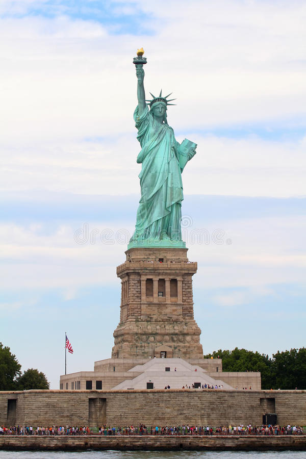 Liberty Statue. The view of the Liberty Statue from the Hudson River, New York stock photography