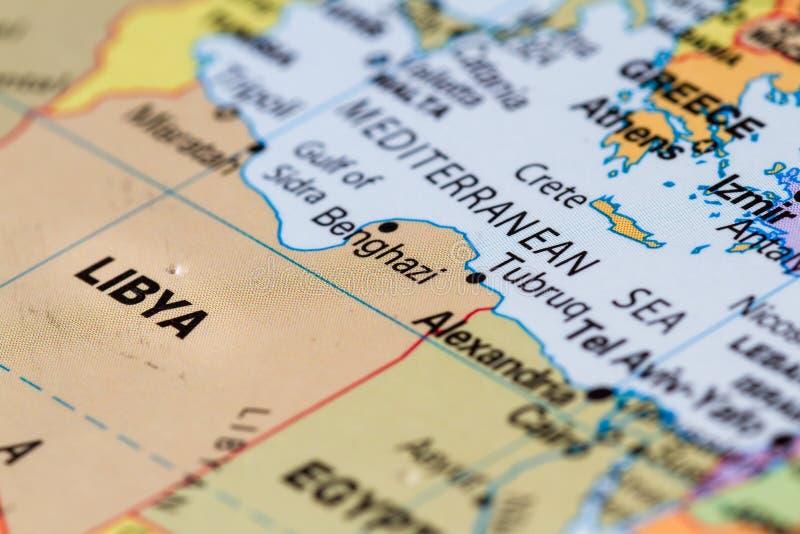 Libië op een kaart stock afbeelding