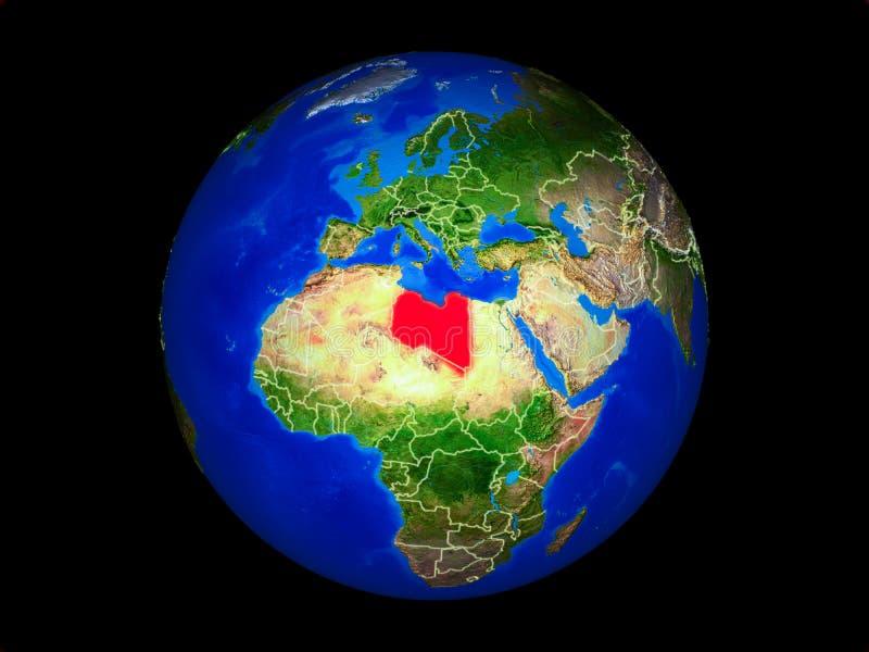 Libia en la tierra del espacio stock de ilustración