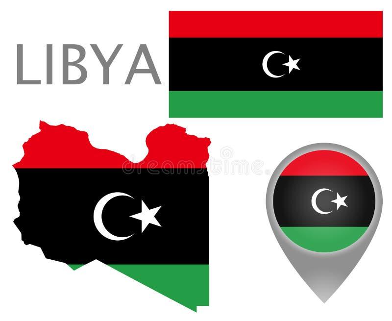 Libia flaga, mapa i mapa pointer, ilustracja wektor
