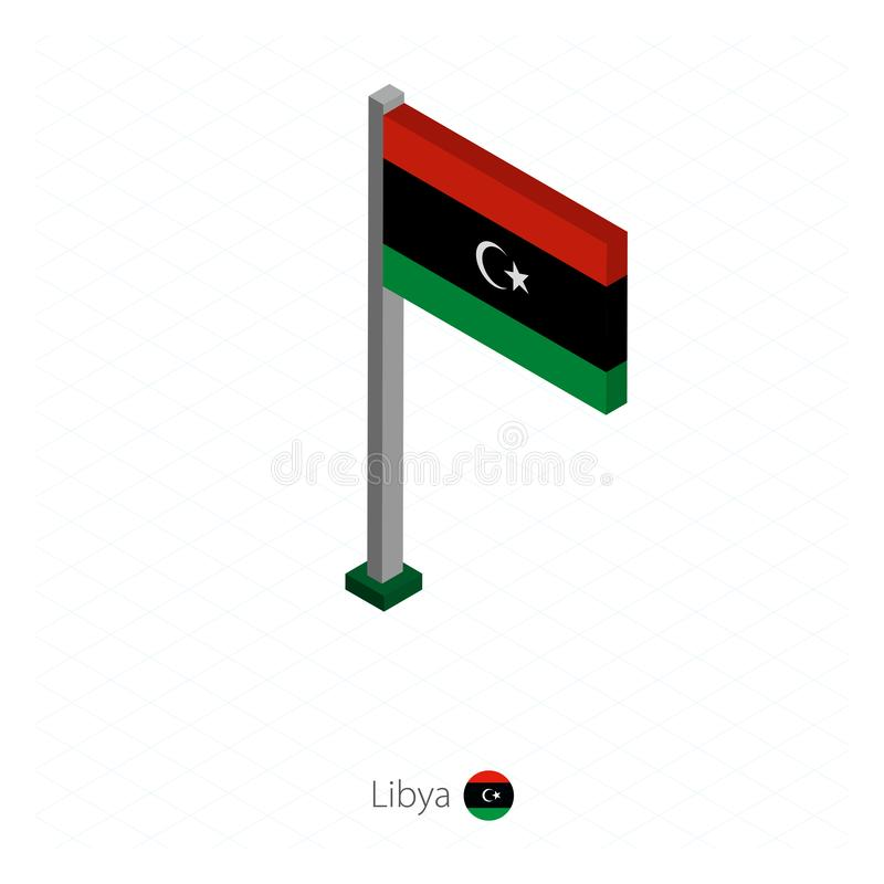 Libia flaga na Flagpole w Isometric wymiarze royalty ilustracja