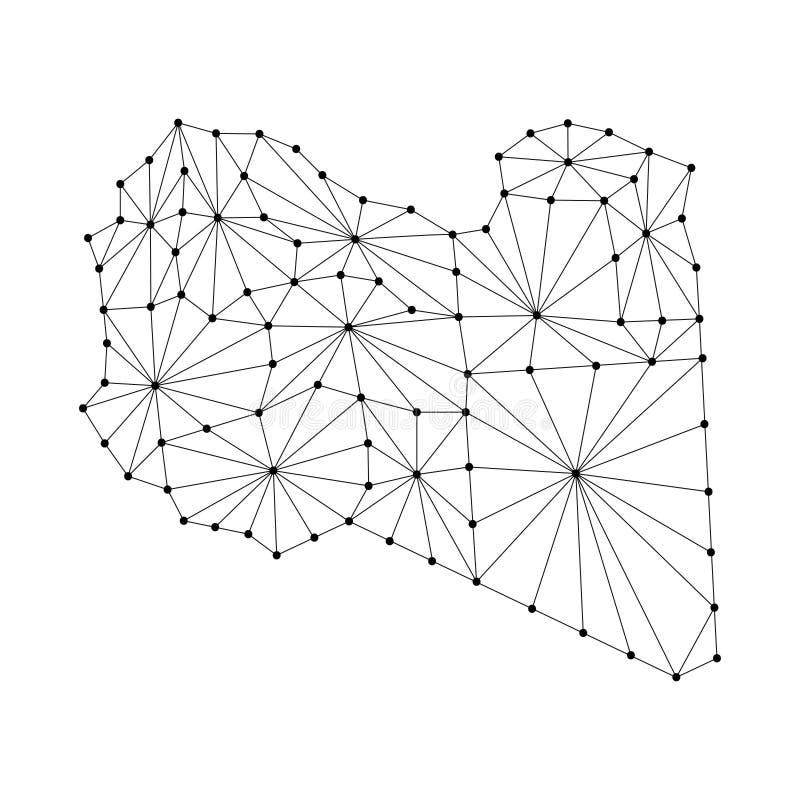 Libia mapa poligonalna mozaika wykłada sieć, promienie, kropki ilustracyjne royalty ilustracja