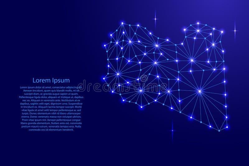 Libia mapa poligonalna mozaika wykłada sieć, promienie, przestrzeni ilustracja gwiazdy ilustracji