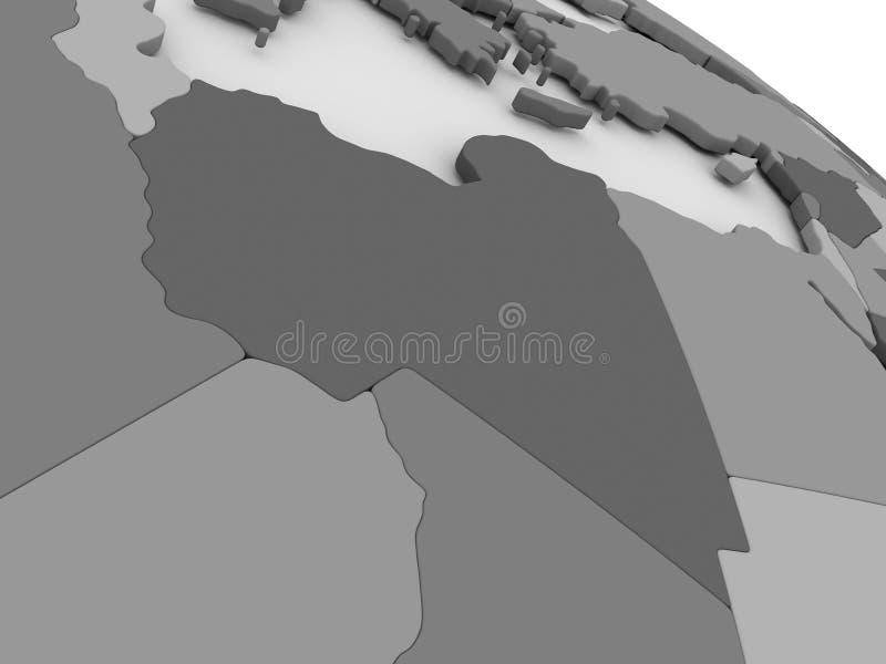 Libia na popielatej 3D mapie royalty ilustracja