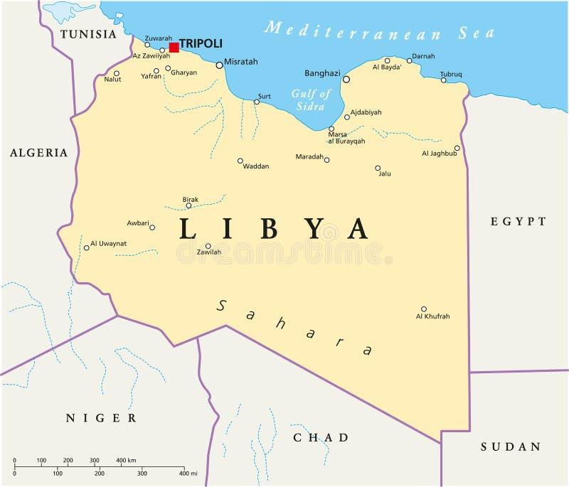 Libia polityczna mapa royalty ilustracja