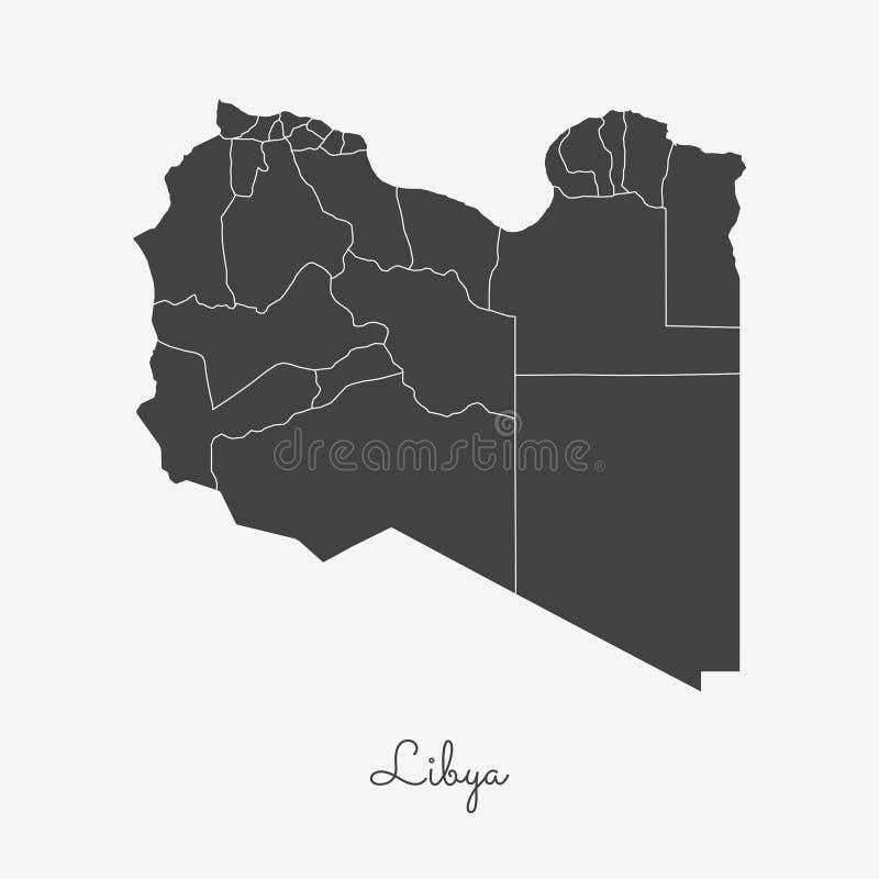 Libia regionu mapa: siwieje kontur na bielu ilustracja wektor
