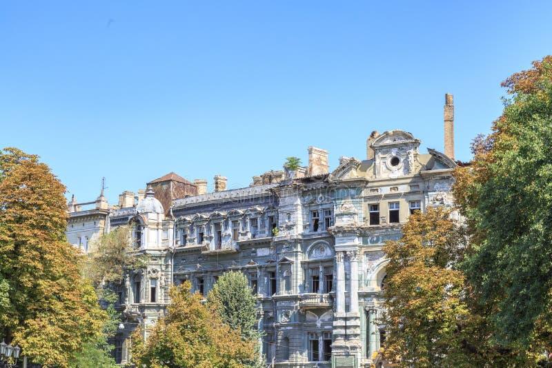 Libmana del siglo XIX de los dom del dokhonyi de los edificios cerca del cuadrado de la catedral en Odessa foto de archivo libre de regalías
