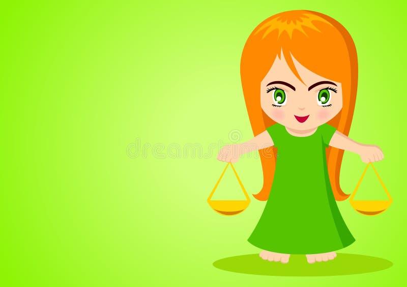 Libra. Cartoon illustration of Libra on green background vector illustration