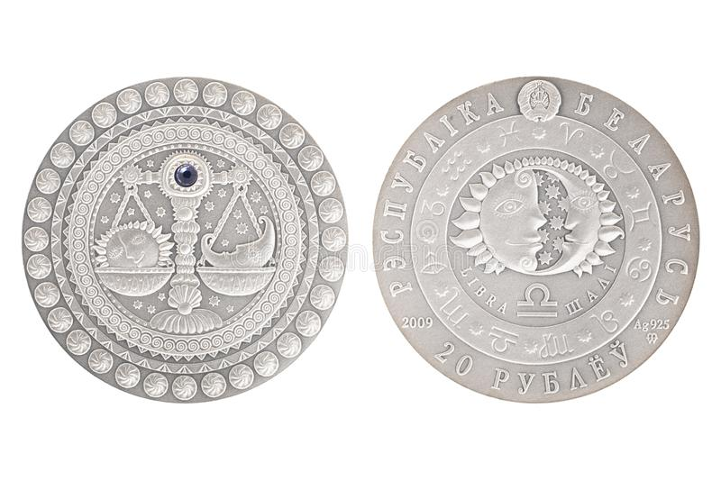 Libra Białoruś srebna moneta zdjęcie stock