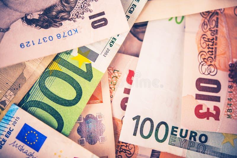 Libra britânica ao conceito do Euro imagens de stock