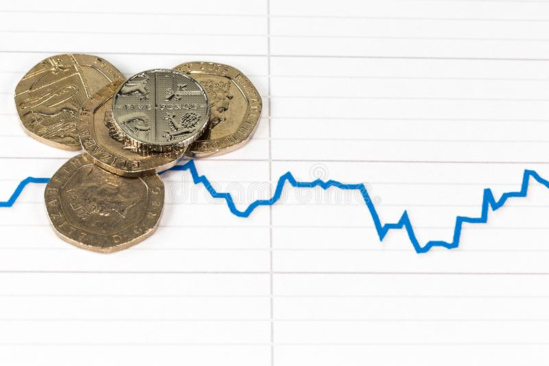 Libra britânica com gráfico de queda dos estrangeiros libra esterlina imagens de stock
