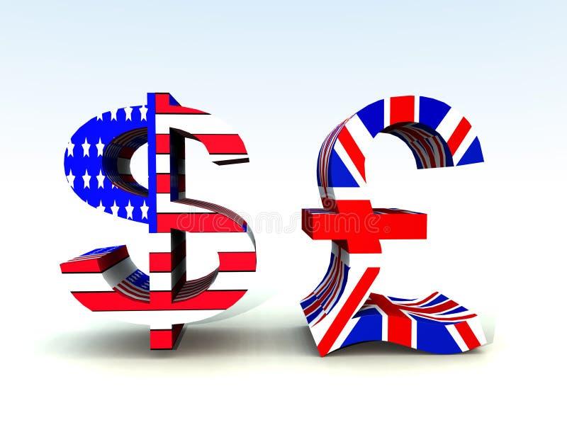 Libra britânica e dólar americano 20 ilustração royalty free