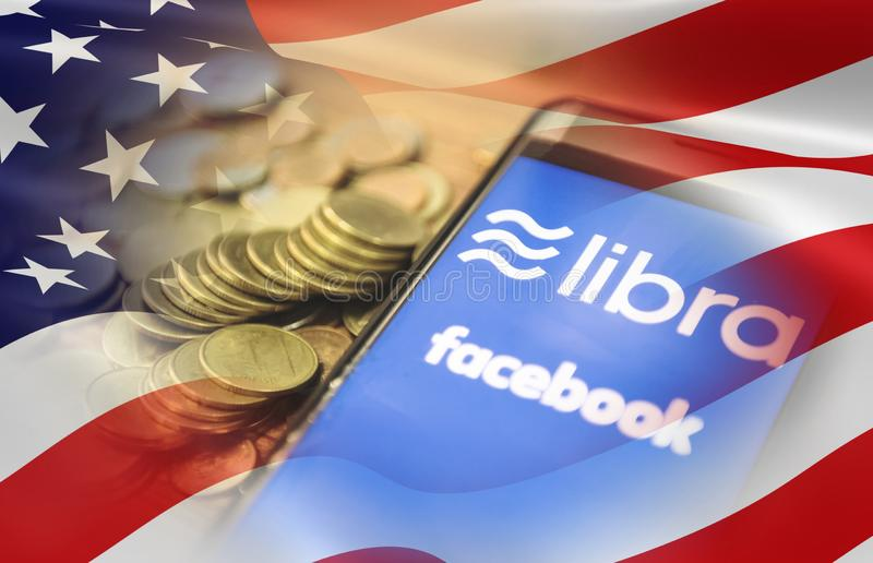 Libra coin blockchain concept Dollar USA. America flag / New project libra a cryptocurrency launched by Facebook coin mainstream stock images