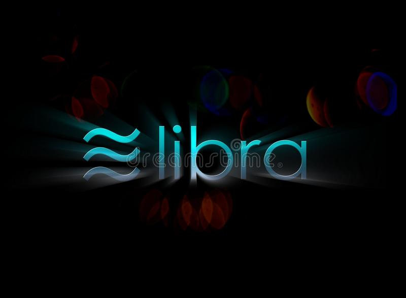 Libra coin blockchain technology royalty free stock photo