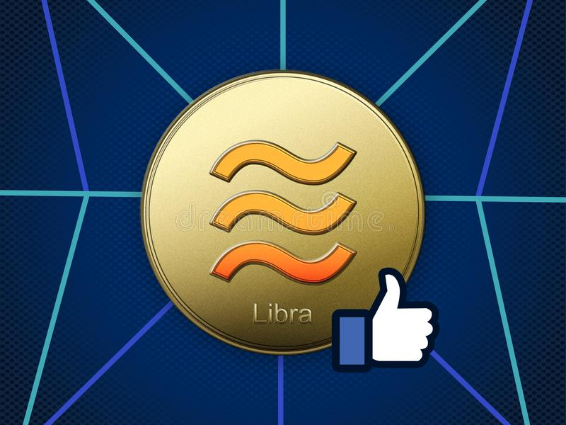 Libra coin on blue grid background royalty free illustration