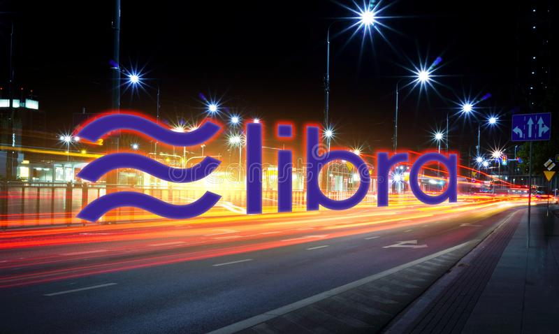 Libra coin moving fast on the road, a Cryptocurrency blockchain platform , Digital money royalty free stock images