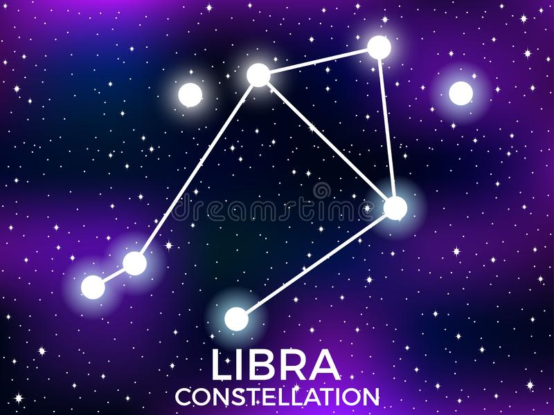 Libra constellation. Starry night sky. Cluster of stars and galaxies. Deep space. Vector. Illustration vector illustration