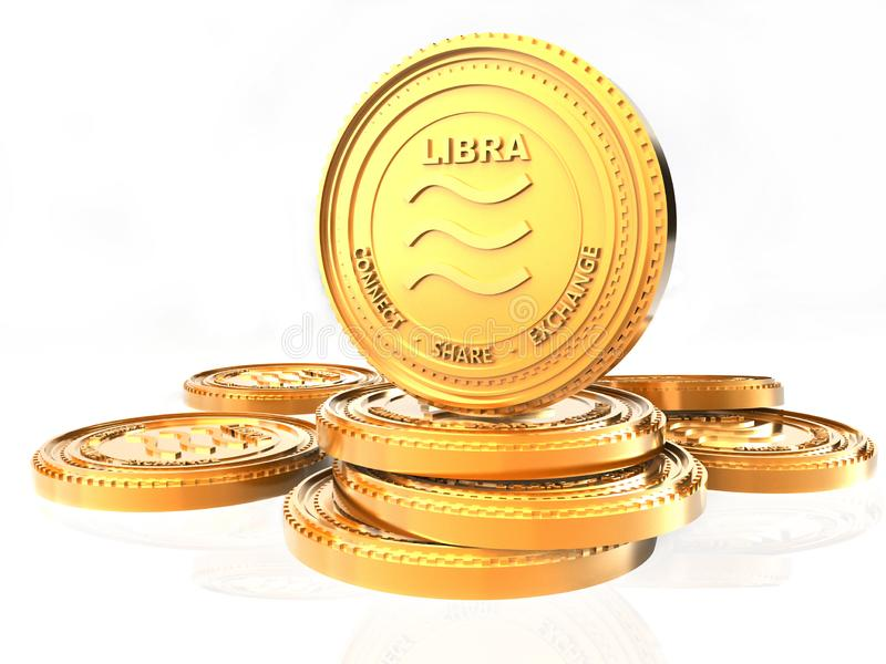 Libra crypt o currency coin. Golden Libra coin, 3D rendering isolated on white background royalty free illustration