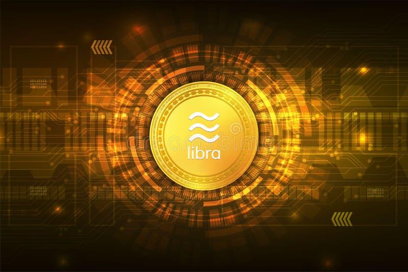 Libra cryptocurrency cyfrowa waluta z obwodu abstrakcjonistycznym wektorowym tłem dla technologia biznesu i online marketingu ilustracji