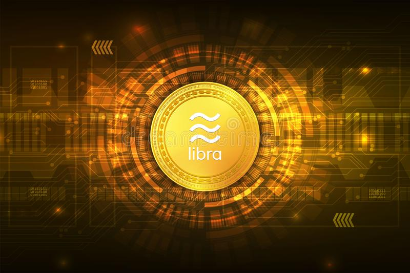 Libra cryptocurrency digital currency  with circuit abstract vector background for technology business and online marketing. Concept stock illustration
