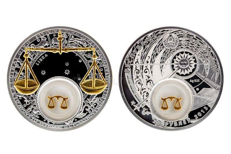 Libra de la astrología de la moneda de plata de Bielorrusia fotos de archivo