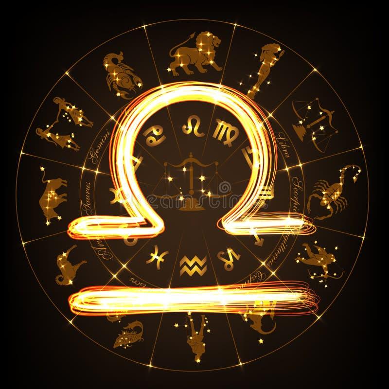 Libra de la muestra del zodiaco ilustración del vector