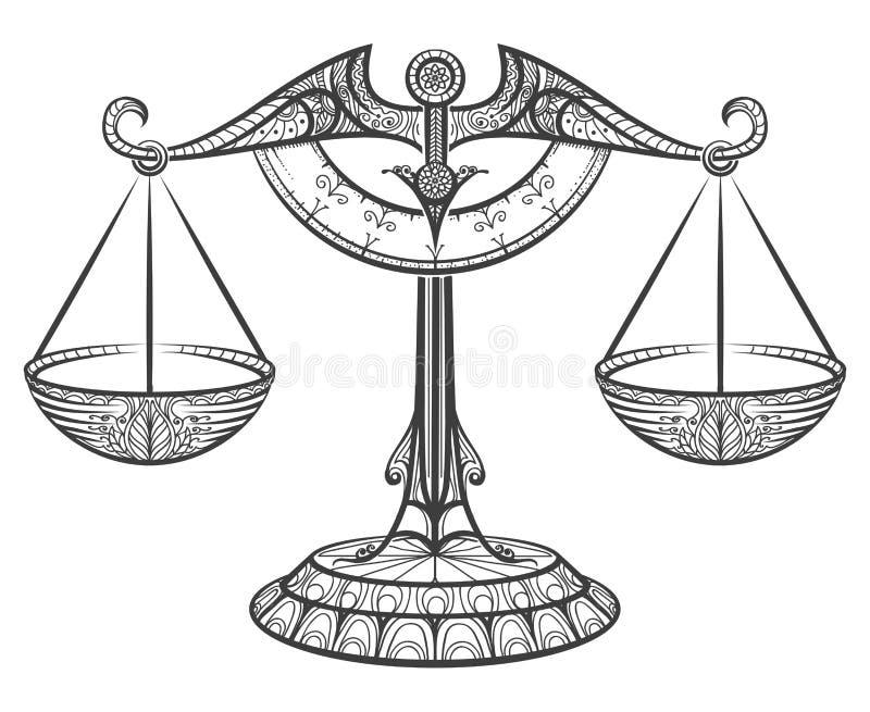 Libra del zodiaco dibujado en estilo del zentangle stock de ilustración