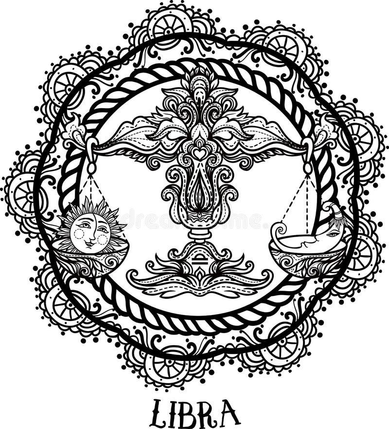 Libra detallado en estilo azteca stock de ilustración