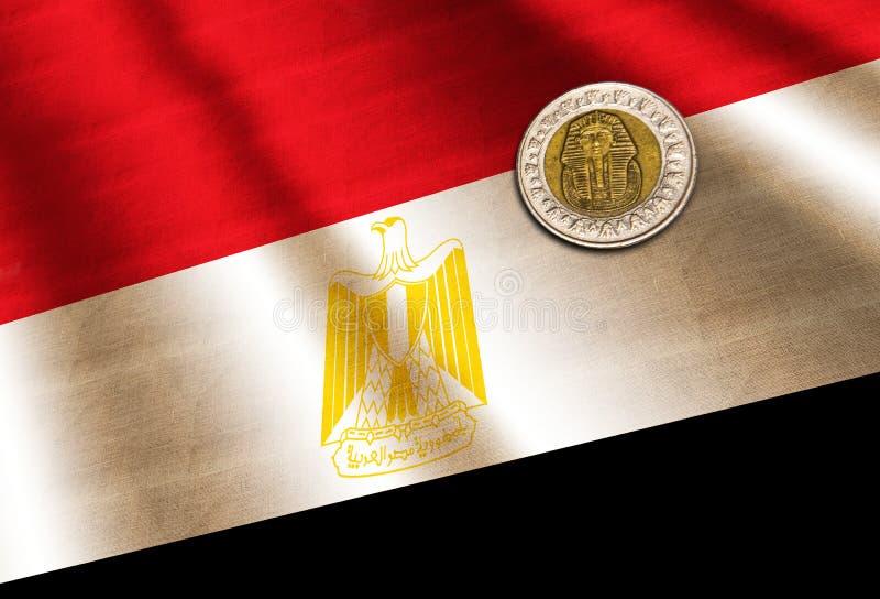 Libra egipcia en la bandera foto de archivo libre de regalías