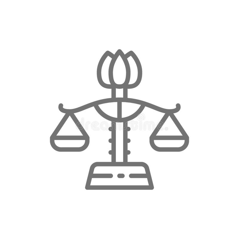 Libra fêmea, igualdade de gênero, linha ícone de justiça da senhora ilustração stock