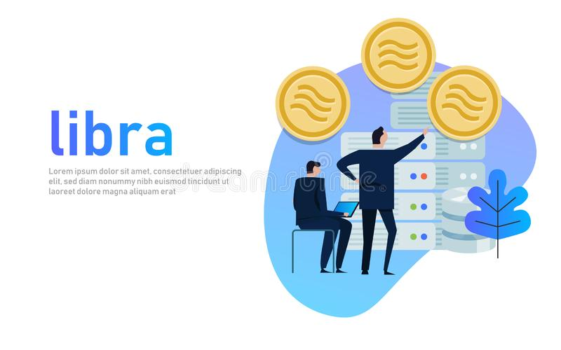 Libra Facebook cryptocurrency and bitcoin cryptocurrency, Libra coins concept. royalty free illustration
