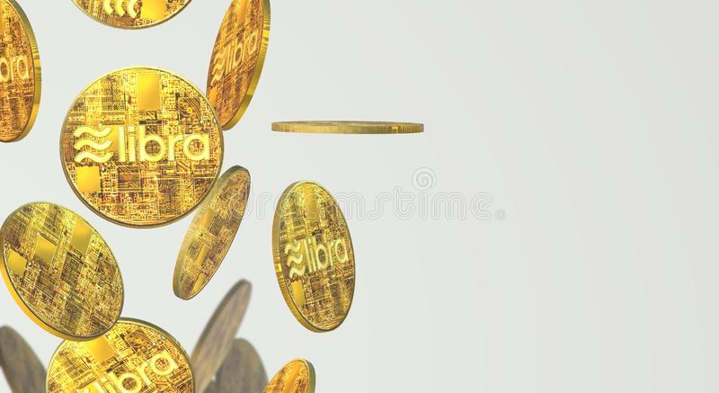 The Libra Facebook 3d rendering cryptocurrency   content. Gold coin Libra Facebook 3d rendering cryptocurrency   content vector illustration