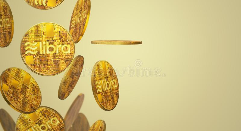 The Libra Facebook 3d rendering cryptocurrency   content. Gold coin Libra Facebook 3d rendering cryptocurrency   content royalty free illustration