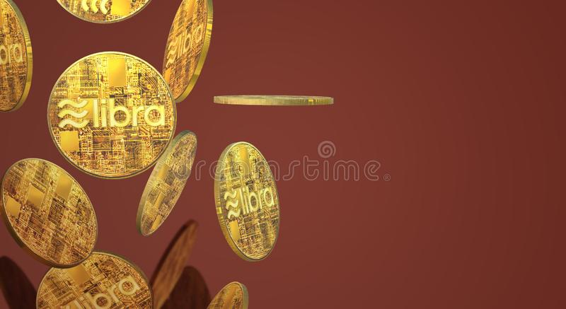 The Libra Facebook 3d rendering cryptocurrency   content. Gold coin Libra Facebook 3d rendering cryptocurrency   content stock illustration