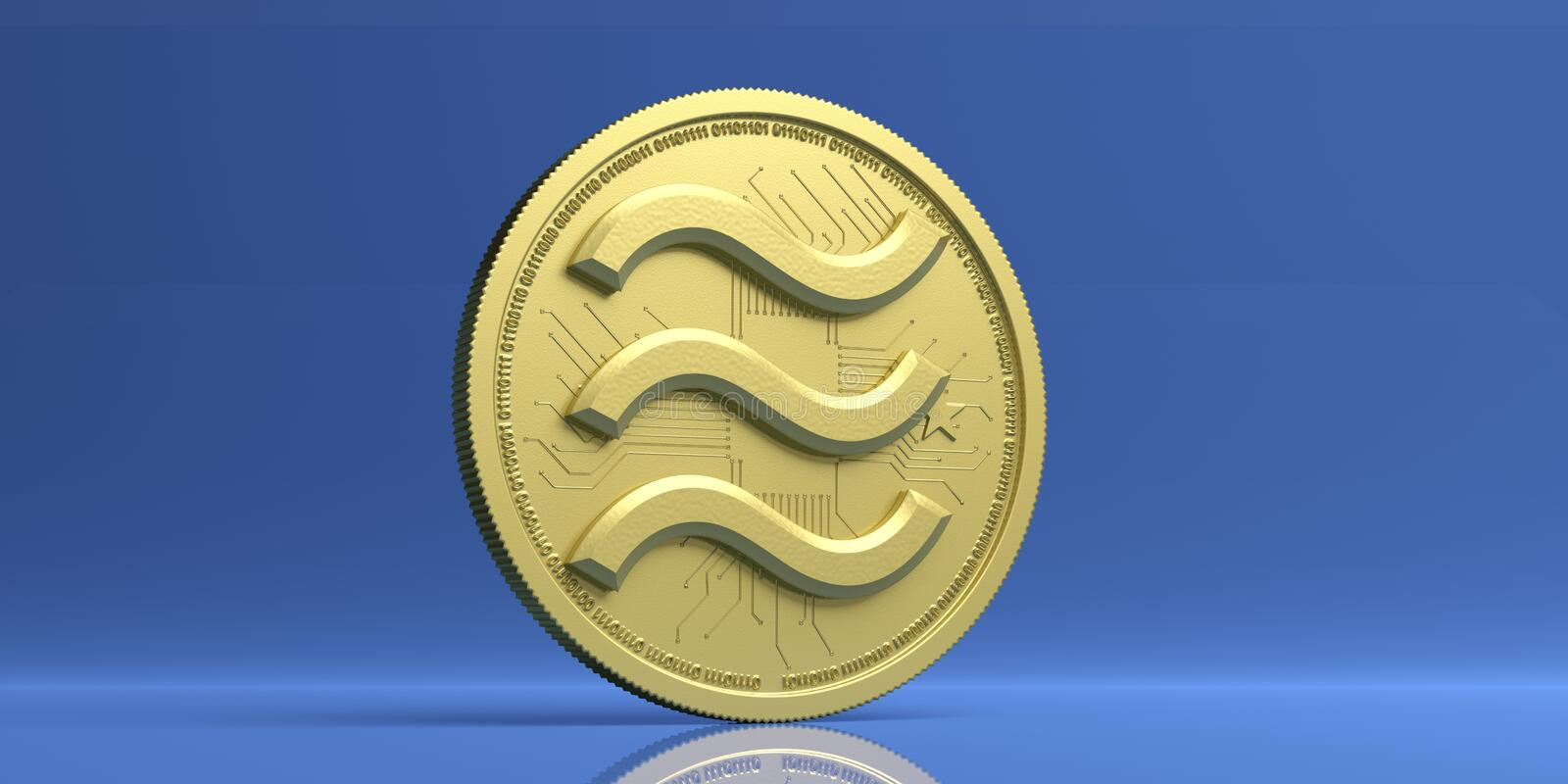 Libra golden virtual currency, isolated against blue background. 3d illustration. Libra gold coin logo, digital cryptocurrency, isolated against blue color stock illustration