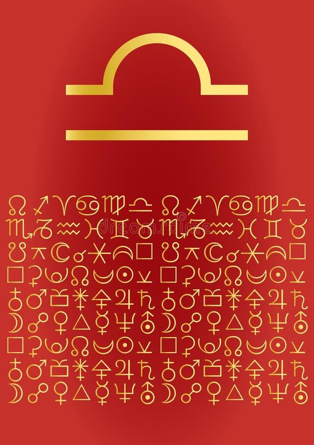 Libra, greeting card vector illustration