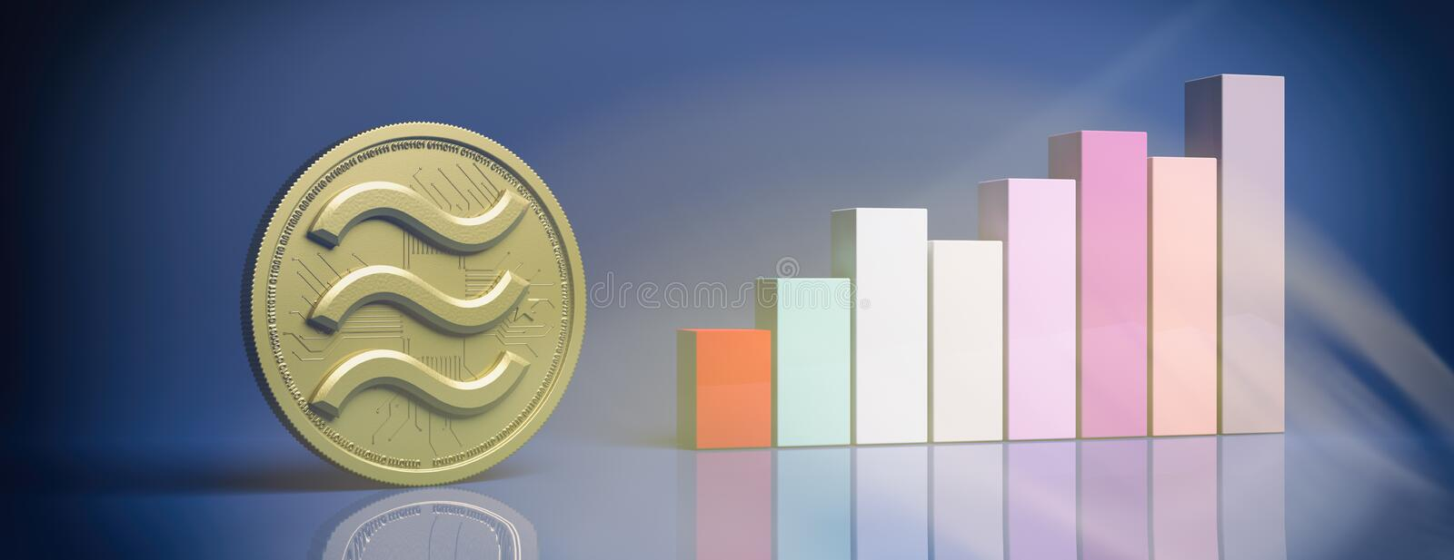 Libra growth. Gold coin and bar chart against blue color background. 3d illustration. Libra digital cryptocurrency growth. Gold coin with logo and growing bars vector illustration