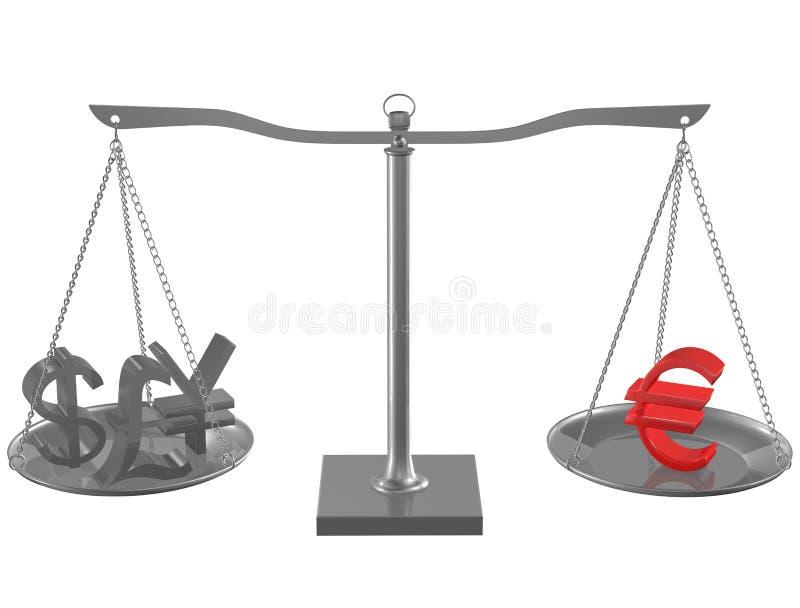 Libra, ienes, dólar e euro no balanço ilustração stock