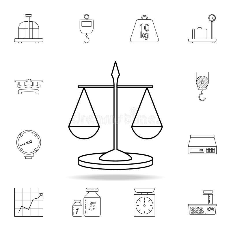 Libra ikona Szczegółowy set pomiarowych instrumentów ikony Premia graficzny projekt Jeden inkasowe ikony dla stron internetowych, ilustracja wektor