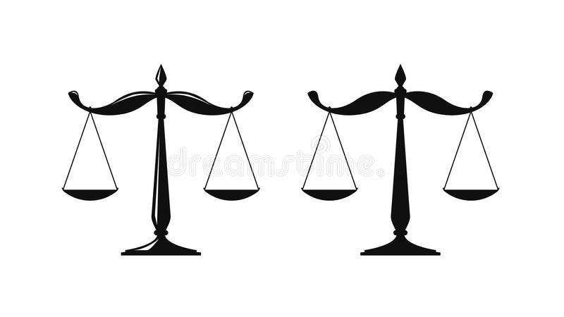 Libra, sądowy waży loga Notariusz, sprawiedliwość, prawnik ikona lub symbol, również zwrócić corel ilustracji wektora royalty ilustracja