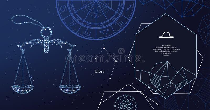 Libra van het dierenriemteken Het symbool van de astrologische horoscoop Horizontale banner royalty-vrije illustratie