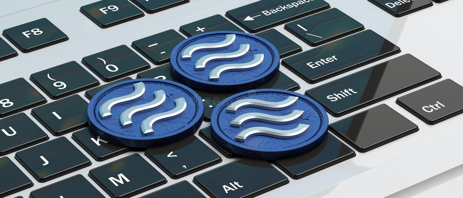 Libra virtual currency, blue color on computer keyboard background. 3d illustration. Three Libra coins digital cryptocurrency, blue silver color, on computer stock illustration