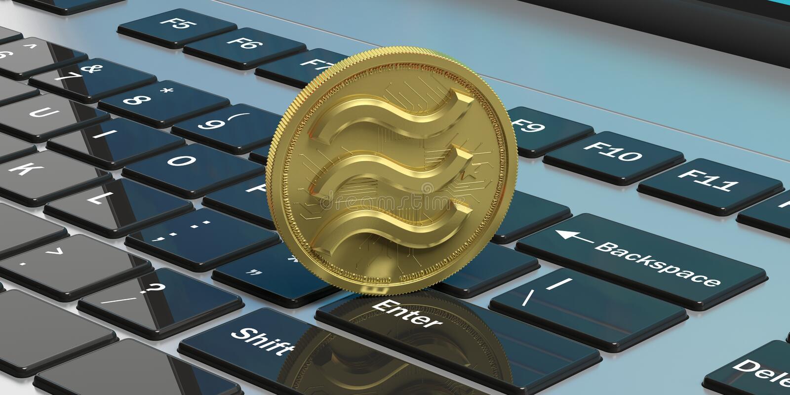 Libra virtual currency on computer keyboard background. 3d illustration. Libra gold coin with logo, digital cryptocurrency on computer keyboard background. 3d vector illustration