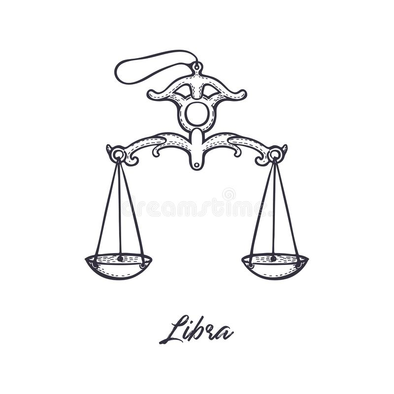 Libra Zodiac constellation. The symbol of the astrological horoscope. royalty free illustration