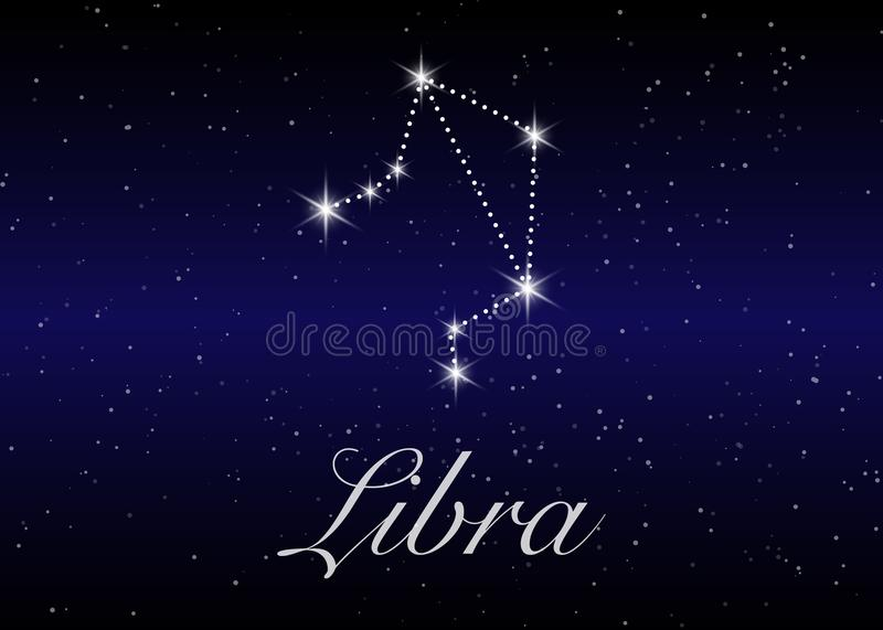 Libra zodiac constellations sign on beautiful starry sky with galaxy and space behind. Balance horoscope symbol constellation vector illustration